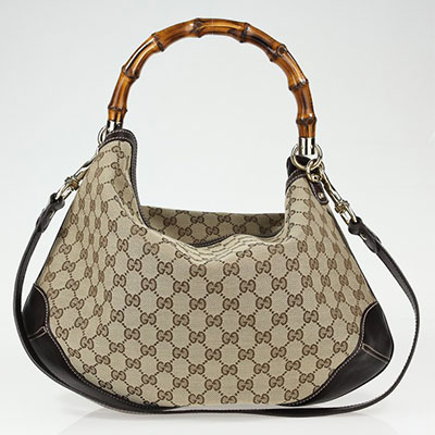 f088165225a GUCCI GG FABRIC PEGGY BAMBOO BAG - SecondsBoutique