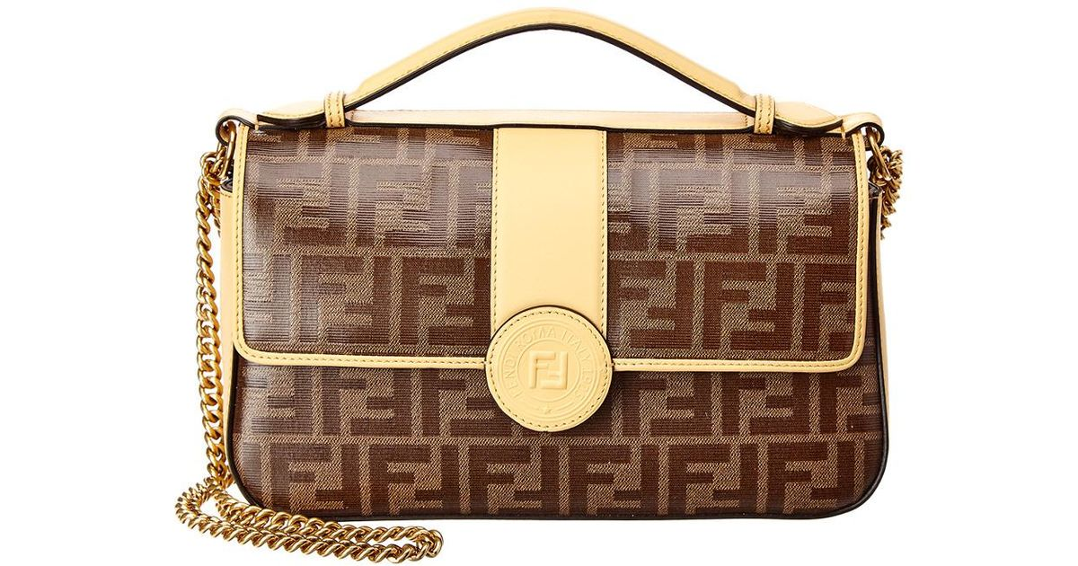 fendi-Yellow-Double-F-Zucca-Canvas-Leather-Shoulder-Bag